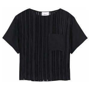 3.1 Phillip Lim Striped Black Silk Georgette Top